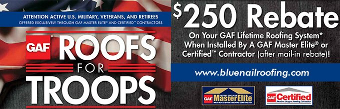 Roofs for Troops Rebate on GAF Lifetime Roofing Systems