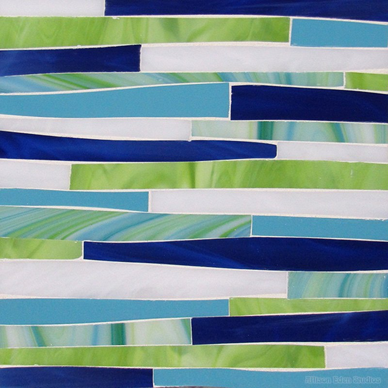 Offset Grass in blues and greens