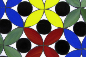 Floral with Dot- red yellow blue green