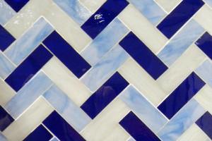 Herringbone in white and blues
