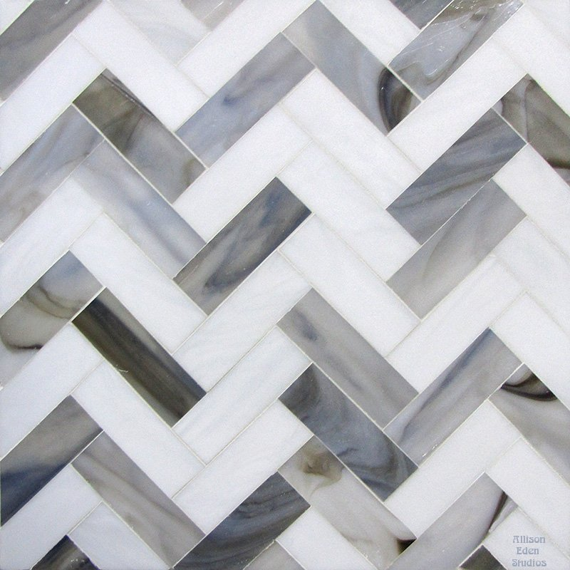 Herringbone in white and grays