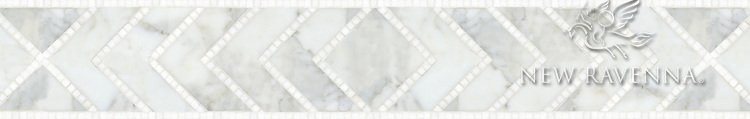"""Vincent, a natural stone waterjet and hand cut 6 1/2"""" mosaic border"""