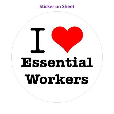 I Love Essential Workers Red Heart