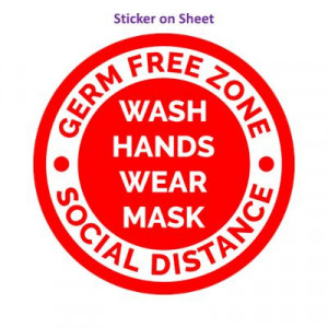 Germ Free Zone Wash Hands Wear Mask Social Distance Bright Red Border