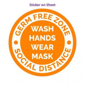 Germ Free Zone Wash Hands Wear Mask Social Distance