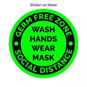 Germ Free Zone Wash Hands Wear Mask Social Distance Green