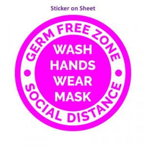 Germ Free Zone Wash Hands Wear Mask Social Distance Magenta