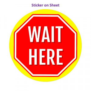 Stop Sign Wait Here Yellow Bright Stopsign