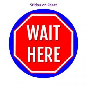 Stop Sign Wait Here Medium Blue Stopsign