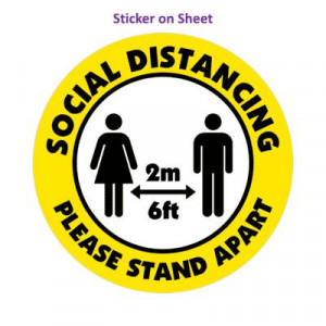 Social Distance Please Stand Apart 6ft 2m Yellow Orange