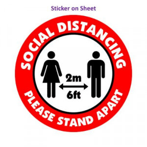 Social Distance Please Stand Apart 6ft 2m Bright Red