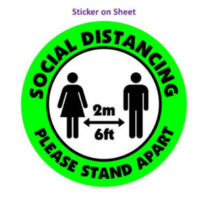 Social Distance Please Stand Apart 6ft 2m Green Bright