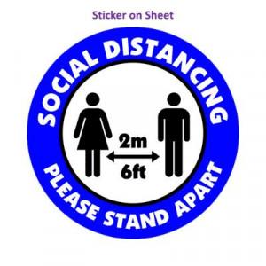 Social Distance Please Stand Apart 6ft 2m Medium Blue