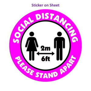 Social Distance Please Stand Apart 6ft 2m Bright Magenta