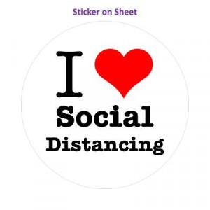 I Love Social Distancing Red Heart