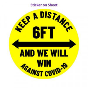 Keep A Distance 6ft And We Will Win Against Covid-19 Arrows Yellow