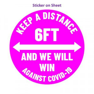 Keep A Distance 6ft And We Will Win Against Covid-19 Magenta Arrows