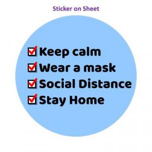 Keep Calm Wear A Mask Social Distance Stay Home Checklist Blue