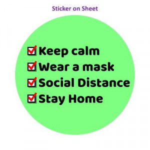 Keep Calm Wear A Mask Social Distance Stay Home Checkbox Green