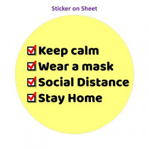 Keep Calm Wear A Mask Social Distance Stay Home Yellow Checkbox