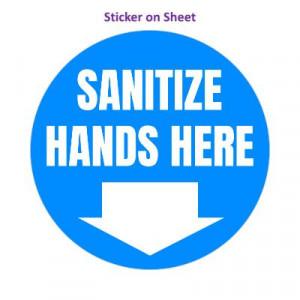 Sanitize Hands Here Bright Blue Arrow