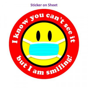 I Know You Cant See It But I Am Smiling Face Mask Smiley Bright Red Border
