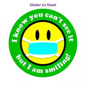 I Know You Cant See It But I Am Smiling Face Mask Smiley Medium Green Border