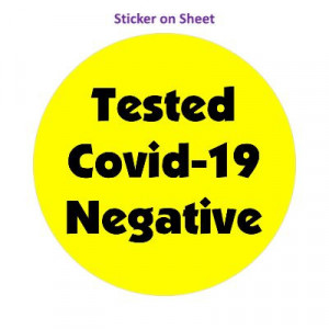 Tested Covid 19 Negative Bright Yellow