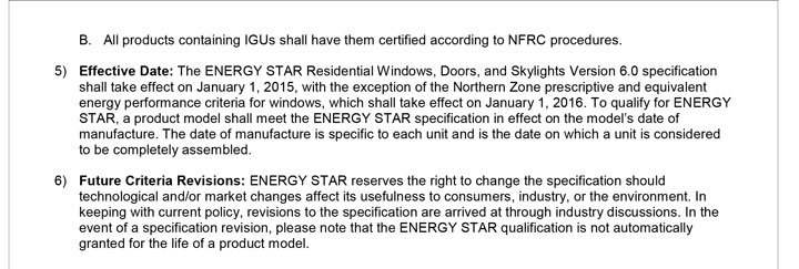 ENERGY STAR Residential Windows, Doors, and Skylights  Product Specification