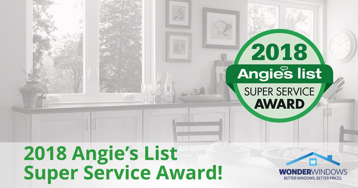 Wonder Windows Earns Angie's List 2018 Super Service Award