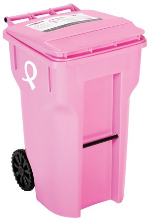 pink garbage can