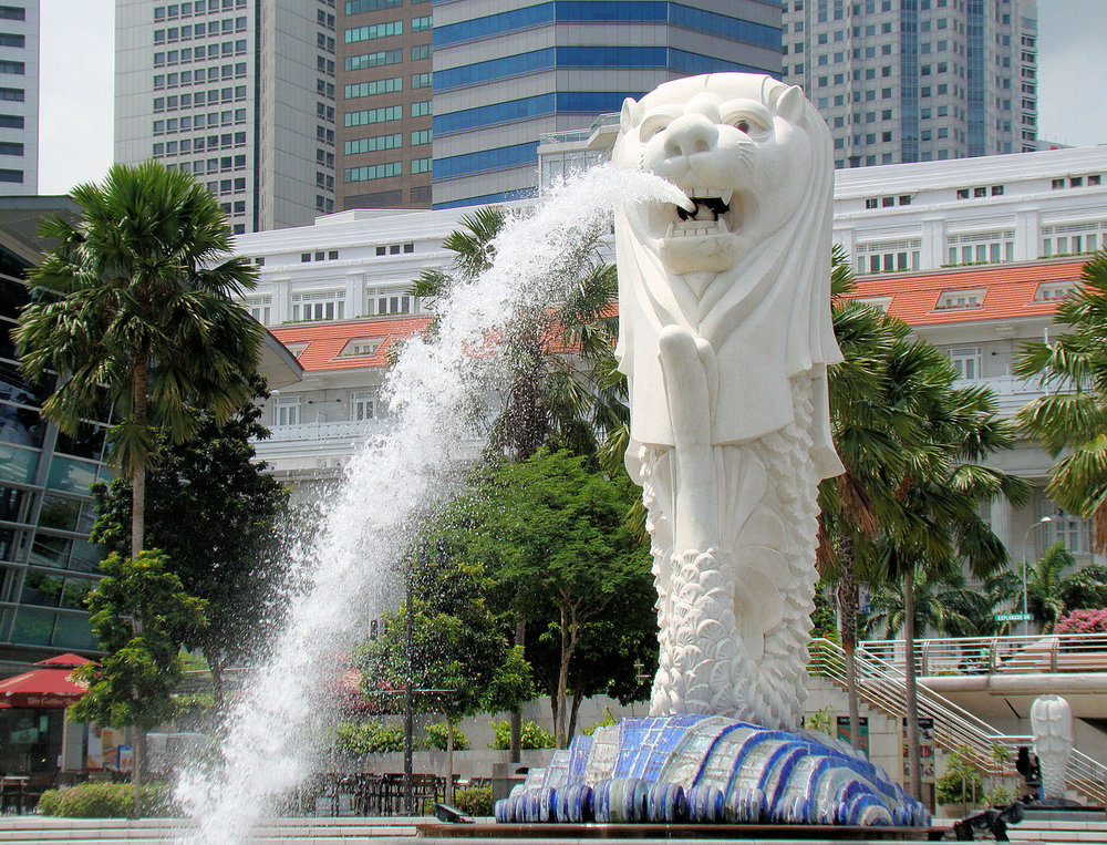 Merlion fountain near Marina Bay, Singapore.
