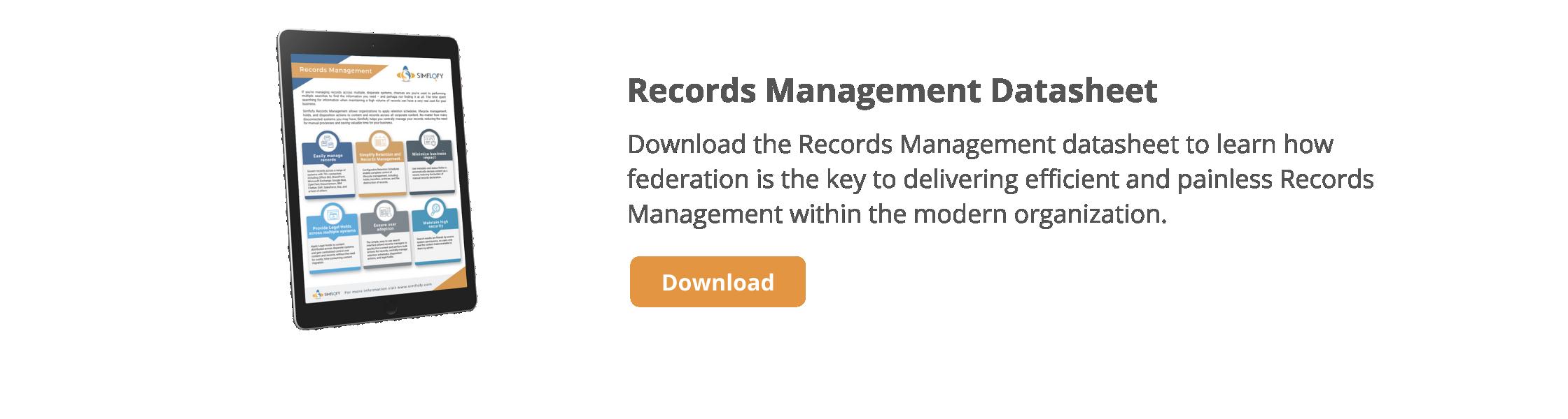 Records Management Datasheet