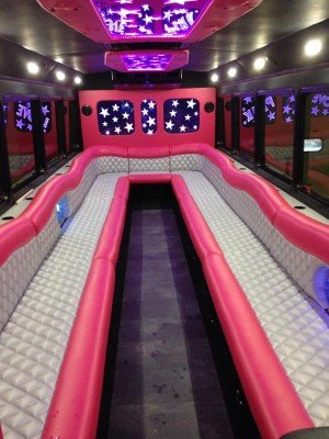 love pink limo bus interior seating