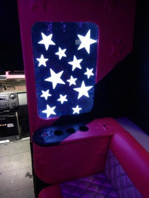 love pink limo bus stars inside