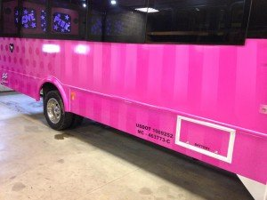 love pink limo bus exterior