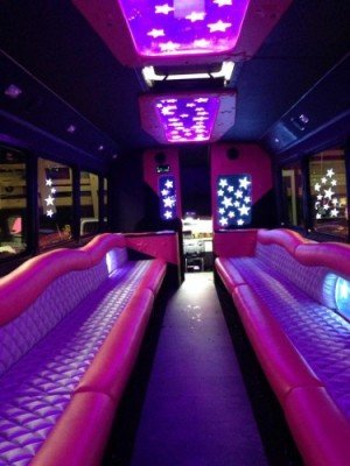 love pink limo bus interior seating dark