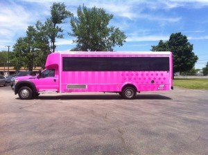 love pink limo bus