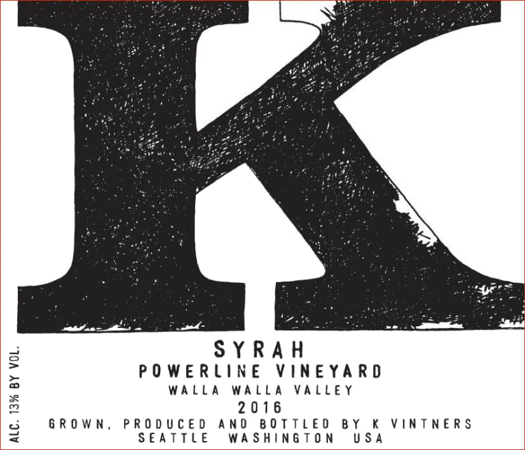 2016 K Vintners Powerline Syrah 750ml