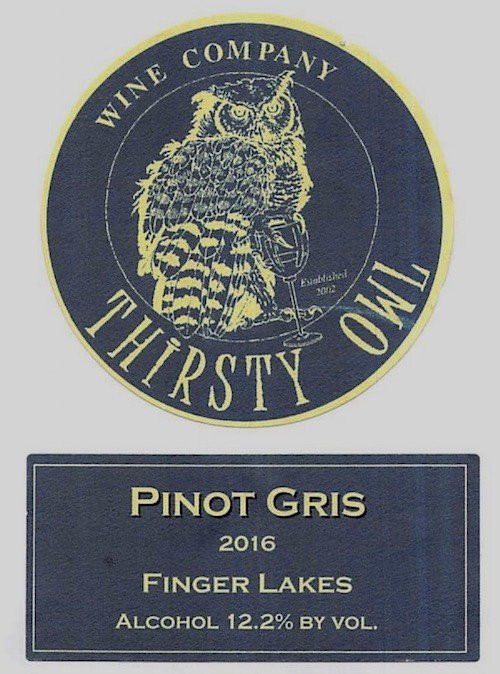 2018 Thirsty Owl Pinot Gris 750ml