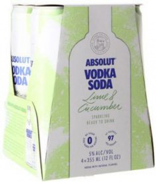 Absolut Sparkling Lime & Cucumber 4pk 355ml Cans
