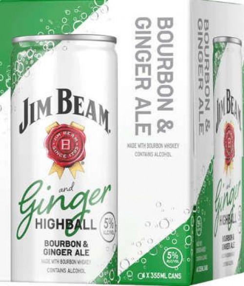 Jim Beam Highball Bourbon & Ginger Ale 4Pk - 355ml Cans