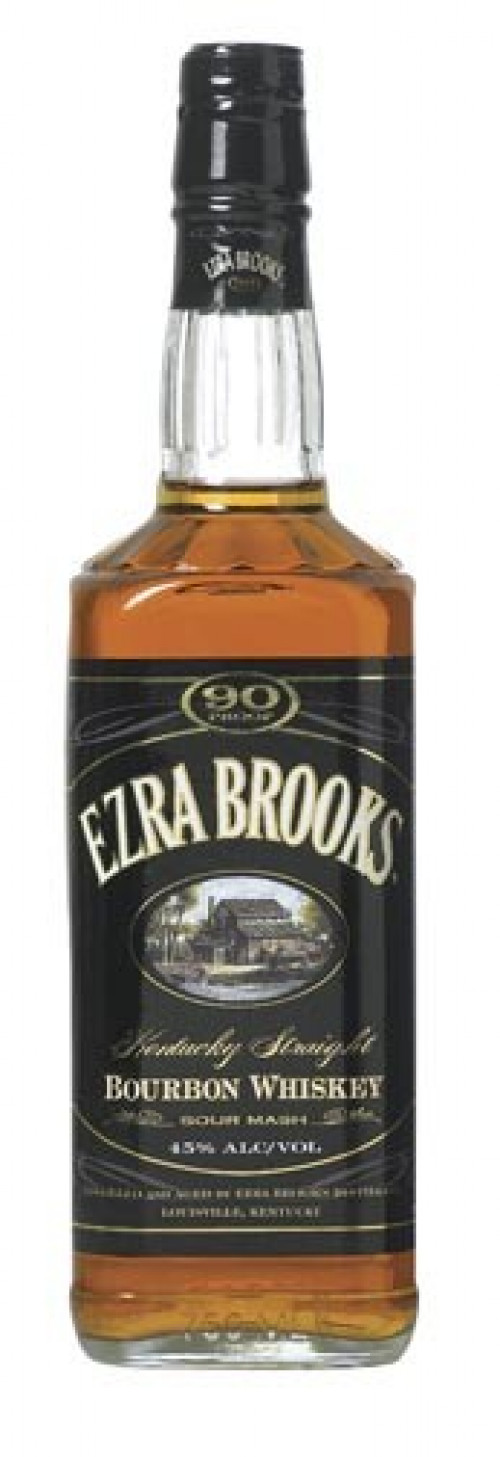 Ezra Brooks 90 Proof Bourbon Black Label 1L