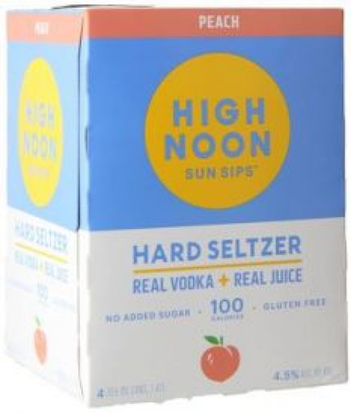 High Noon Sun Sips Vodka & Soda Peach 4Pk 355Ml Cans
