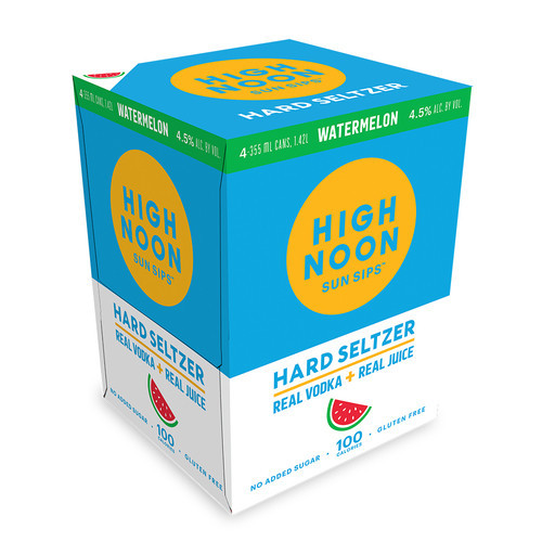 High Noon Sun Sips Watermelon Vodka & Soda 4Pk - 355ml Cans