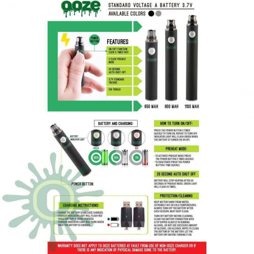 Ooze 1100 Vape Battery - Black