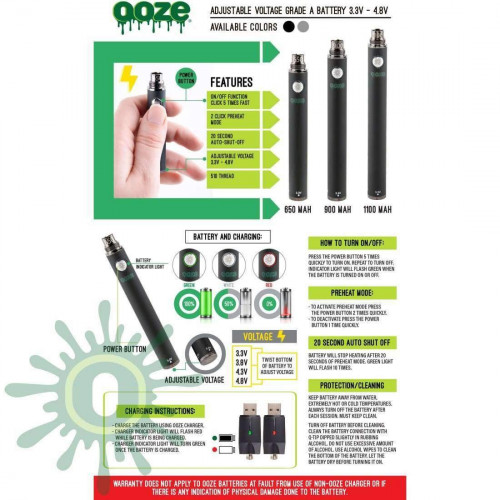 Ooze 1100 Twist Vape Battery - Chrome