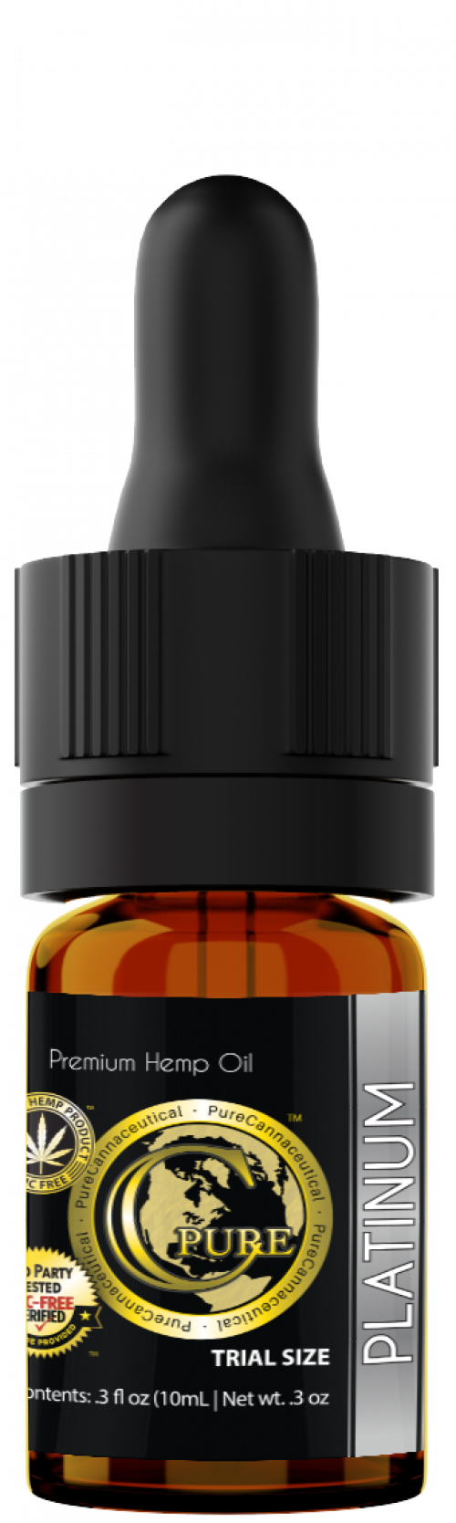 PCRX™ PLATINUM Hemp Oil Tincture, 10mL 10mg/mL, Trial Size