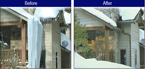 before and after ice damage