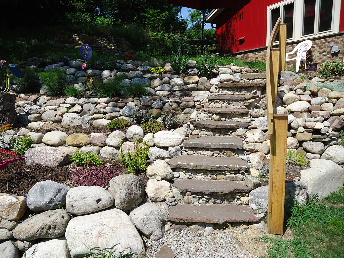 Custom Railing for a Rock Garden